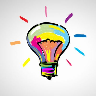 light bulb with abstract paint colors